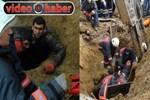 Toprak altında kalan işçiyi itfaiye kurtardı!