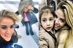 Esra Eron ve kızının kar keyfi