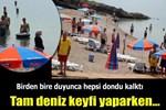 Plajda İstiklal Marşı'na saygı duruşu