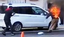 Nişantaşı'nda tinerci bir adamı ateşe verdi