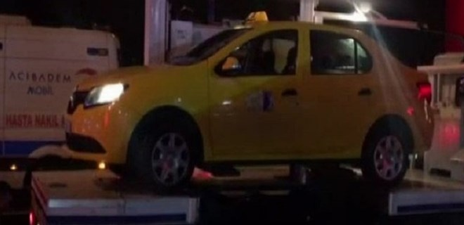 Teröristi taşıyan taksi inceleniyor