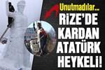Kaldırılan Atatürk heykelinin yerine kardan Atatürk!