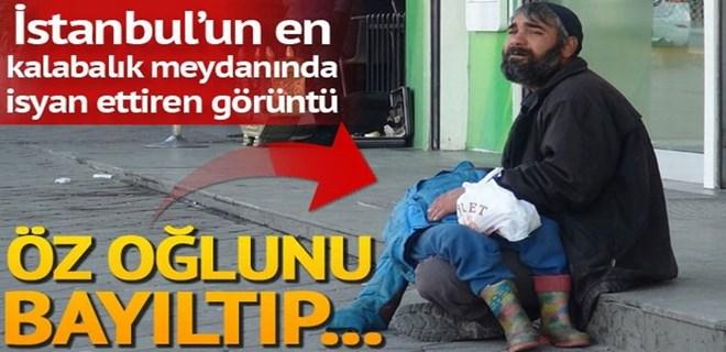 Taksim'de korkunç olay: Oğlunu bayıltarak dilendirdi