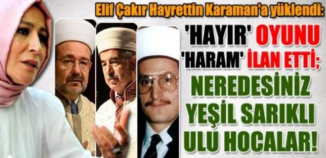 Elif Çakır Hayrettin Karaman'a yüklendi!