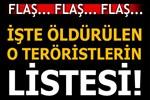 Kandil'de öldürülen o teröristlerin isimleri ortaya çıktı