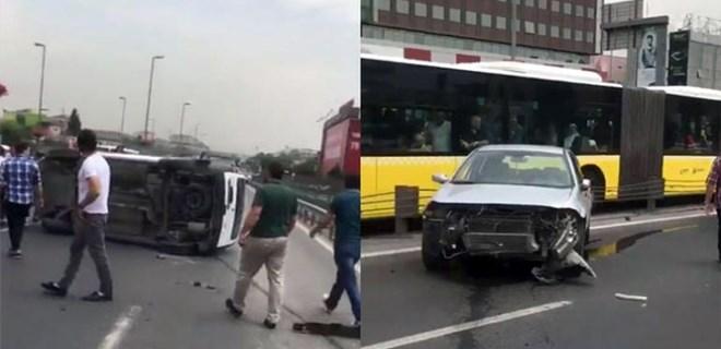 İncirli'de otomobil takla atarak metrobüs yoluna girdi