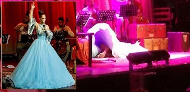 Sertab Erener sahnede yere kapaklandı!