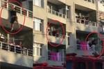 Alkollü kadın balkondan böyle atladı
