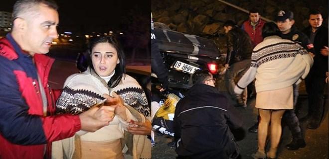 Alkollü kadın sürücü otomobili ile takla attı