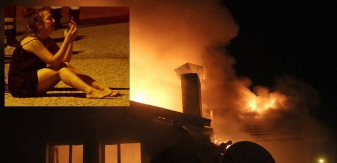 Evinin yanışını gözyaşları içinde izledi