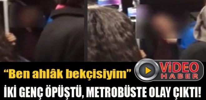 İki genç öpüştü metrobüste olay çıktı!