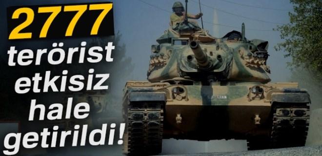 TSK: '2777 terörist etkisiz hale getirildi'