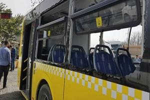 Hafriyat kamyonu İETT otobüsüne çarptı!