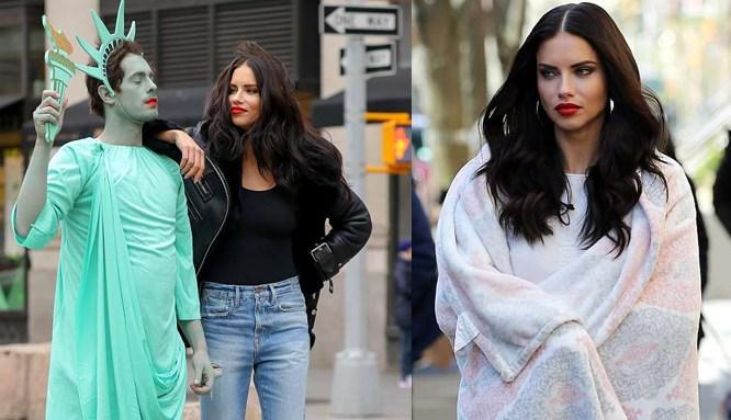 Adriana Lima rüzgarı New York sokaklarında esti