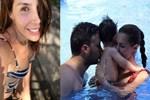 Hatice Şendil - Burak Sağyaşar çiftinden havuzda aile pozu