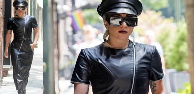 Lady Gaga'nın deri elbisesi olay oldu!