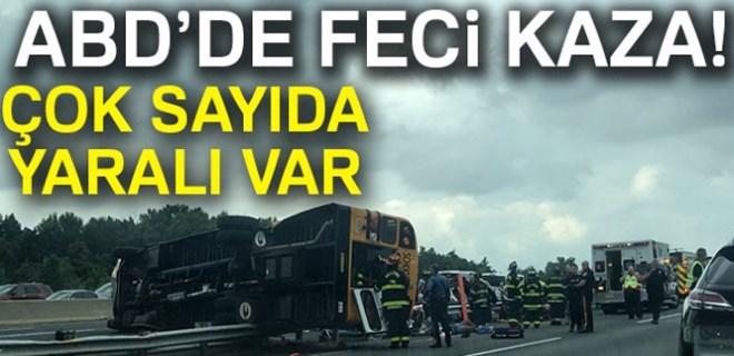 ABD'de okul otobüsü devrildi!