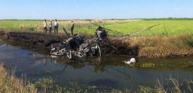 Helikopter düştü, pilot yanarak öldü!