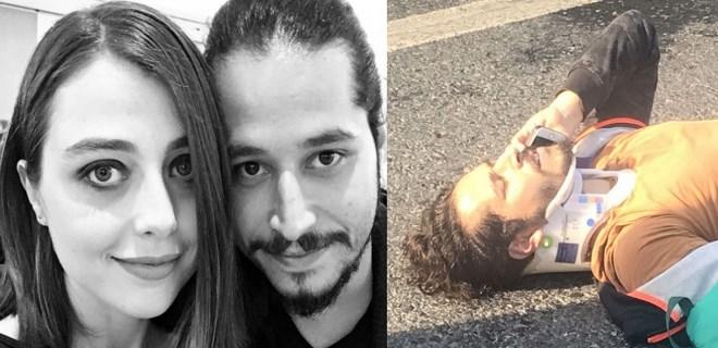 Sevilen tiyatrocu eşiyle birlikte kaza geçirdi