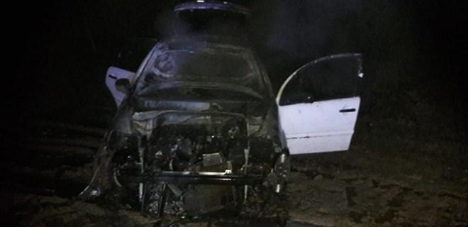 Bilecik'te seyir halindeki otomobil yandı