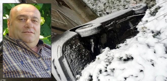 Karda kayarak evin bahçesine uçan otomobilin sürücüsü öldü