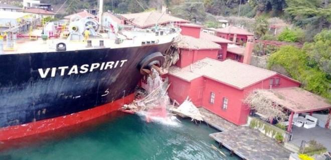 İşte geminin çarptığı yalının son hali!