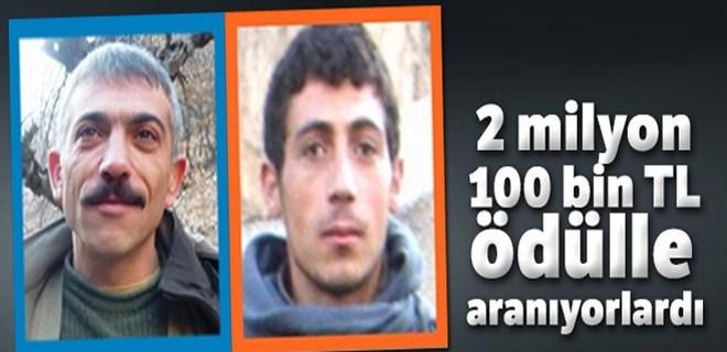 2 milyon 100 bin TL ödülle aranan teröristler öldürüldü!