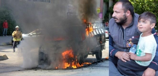 Üsküdar'da bir kamyonet alev alev yandı!