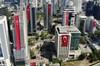 Milli mücadelenin 100. yıl dönümünde iş kuleleri Türk bayraklarıyla donatıldı.
