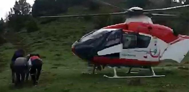 Mantardan zehirlendi ambulans helikopterle hastaneye kaldırıldı