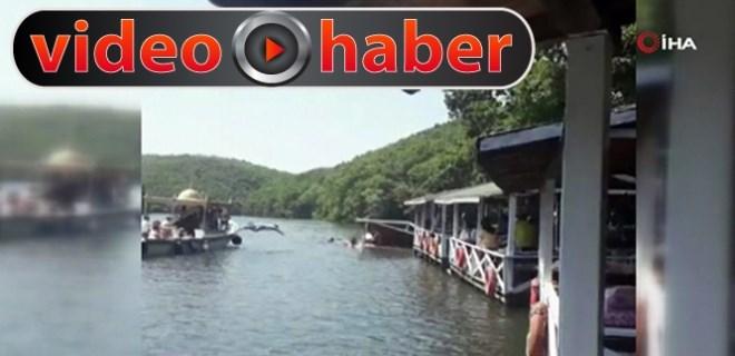 Şile'de çardak çöktü, vatandaşlar göle düştü!